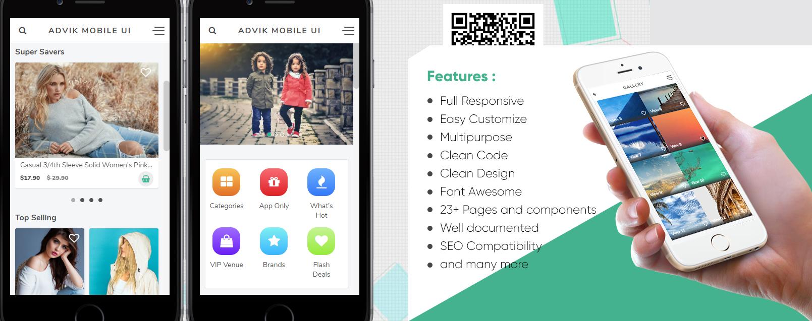 ADVIK Premium Web Mobile UI Kit App